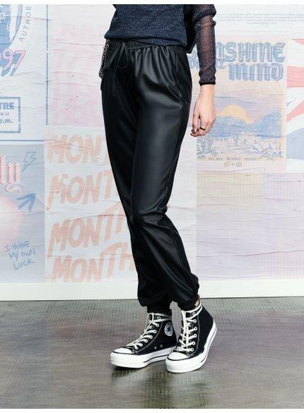 calca jogger fake leather authoria t6799 look