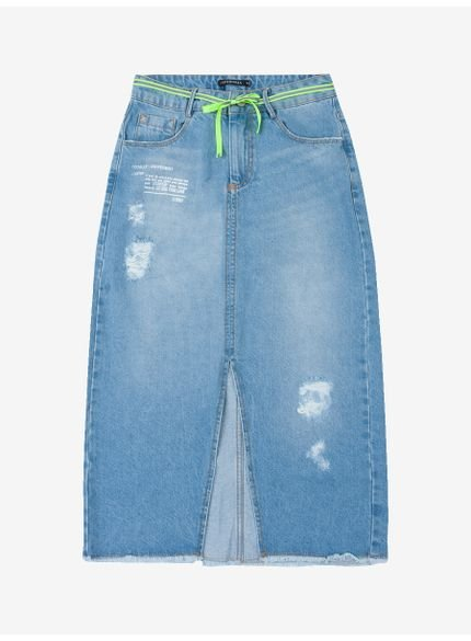 saia midi jeans barra desfiada t6654 frente