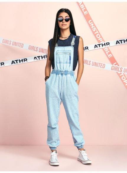 jardineira feminina jeans alca plastica authoria t7008 look
