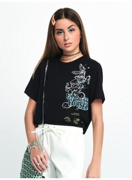 t shirt pernalonga preta t7256 estampada look