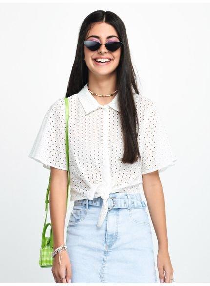camisa de laise manga flare feminina t7169 look
