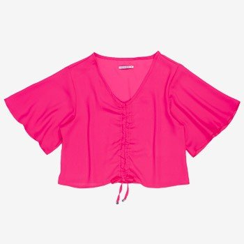 Blusa Rosa Neon com Franzido manga gode T7244