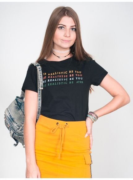 camiseta feminina preta be realistic be you t6566 look