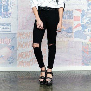 Cala Jeans Preta Rasgos Joelhos Skinny T6669