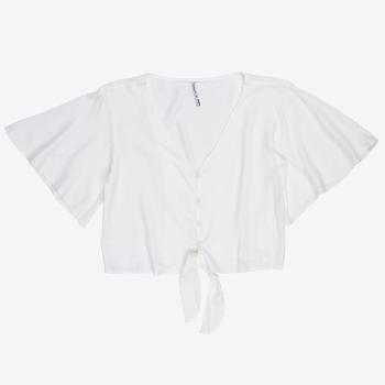 Camisa Feminina com Amarrao Off White T7140