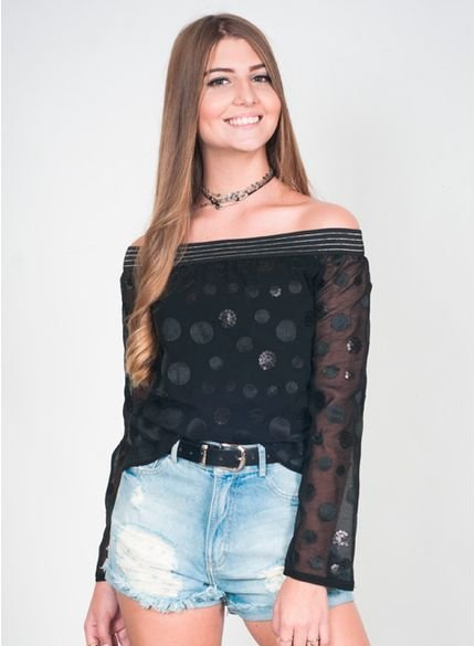blusa juvenil de chifom ciganinha t6893 look