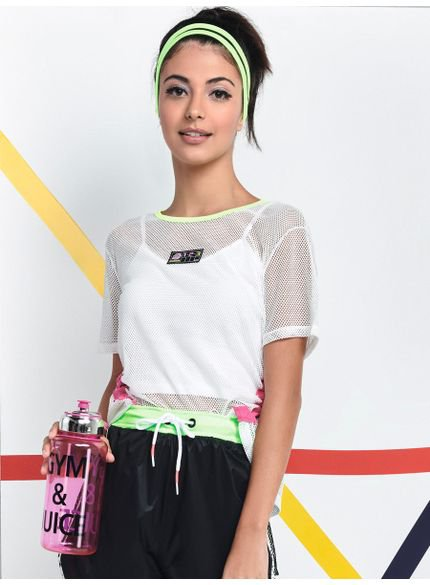 blusa de tela esportiva juvenil feminina branca v0028