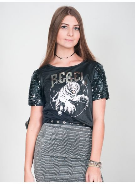 blusa juvenil feminina manga paete t6895 look