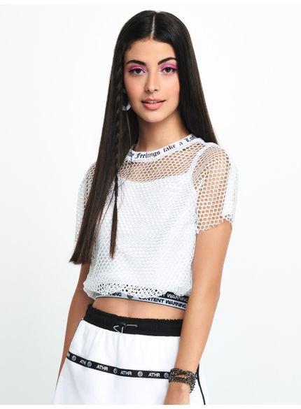 blusa juvenil de tela barra com elastico t7174