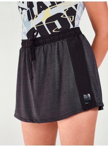 shorts saia juvenil com brilho preto authoria t7277