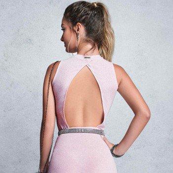 vestido juvenil rosa brilho abertura costas authoria
