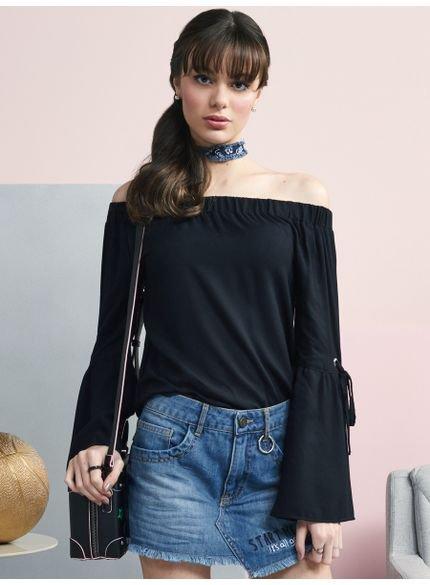 blusa juvenil preta manga flare com amarracao look
