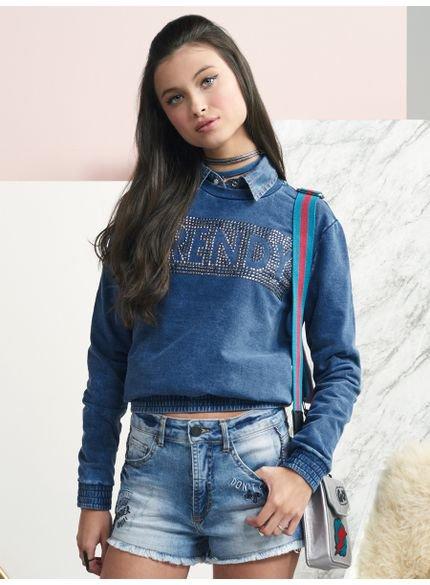 moletom juvenil feminino jeans com tachas