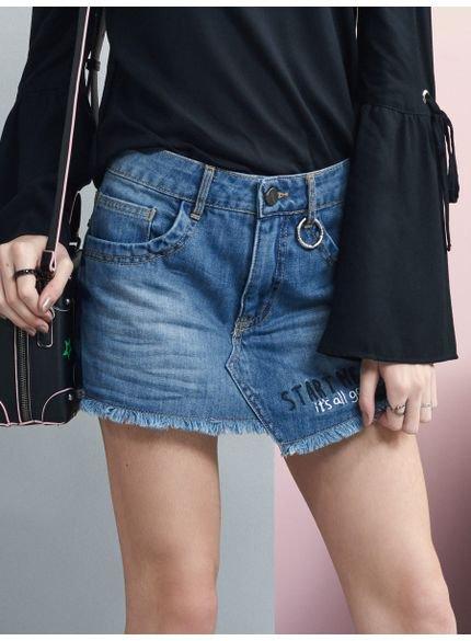 shorts saia jeans assimetrico juvenil feminino