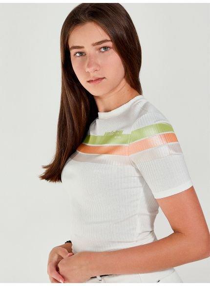 blusa juvenil feminina canelada listras coloridas t7055