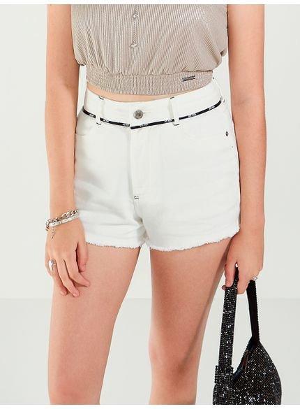 shorts de sarja branco com cadarco personalizado
