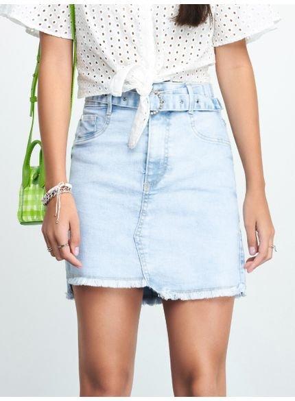 saia jeans juvenil barra desfiada com cinto authoria t7106