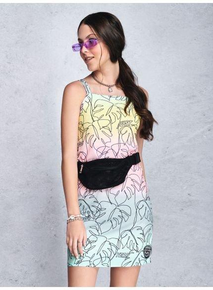 vestido juvenil degrade estampa folhagem t7164