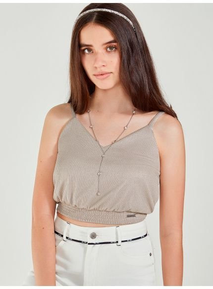 cropped juvenil dourado decote v authoria