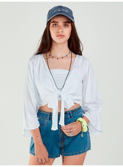 blusa juvenil manga flare com amarracao authoria