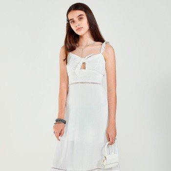 Vestido Juvenil Midi Branco com Amarracao authoria detalhe