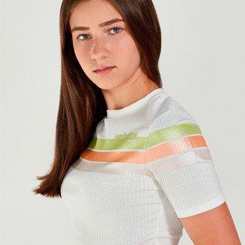 Blusa Juvenil Feminina Canelada Listas Coloridas authoria