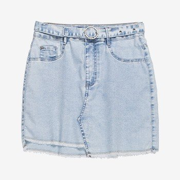 Saia Jeans Juvenil Assimetrica com Barra Desfiada Authoria