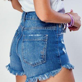 Shorts Jeans Barra Desfiada Authoria detalhes