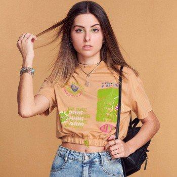 Blusa Cropped Juvenil Caramelo Barra com Elastico T7322