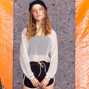 Blusa Juvenil de Tela Branca com Gola Alta T7514