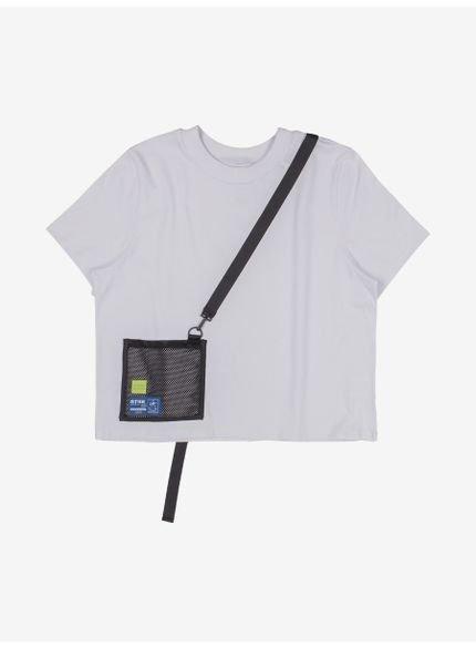 camiseta juvenil branca com bolso de tela authoria still