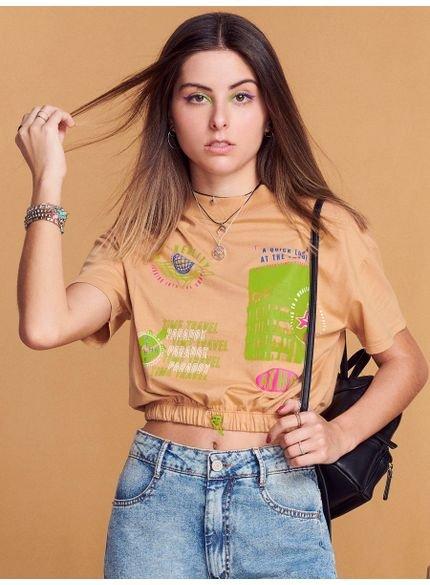 blusa cropped juvenil caramelo barra com elastico look