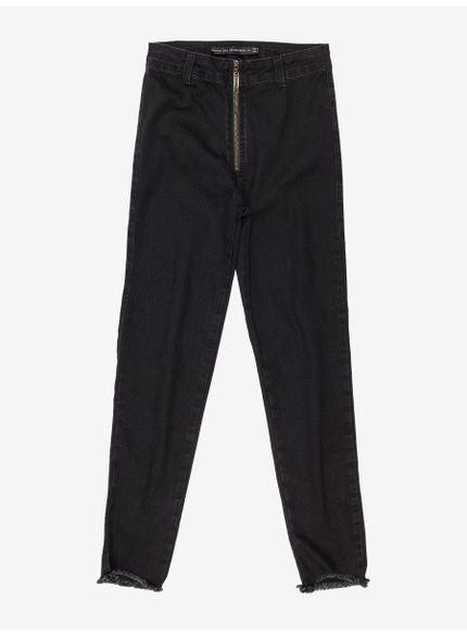 calca jeans juvenil preta com ziper frente look