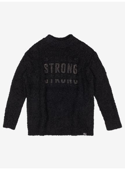 casaco juvenil fluffy peluciado preto strong