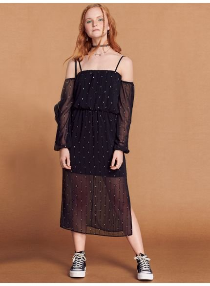 vestido juvenil midi preto de chiffon com gliter