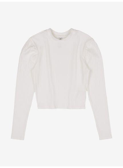 blusa juvenil off white manga longa franzida