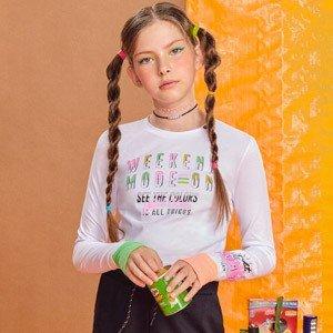 Blusa Teen Malha Canelada com Punho Colorido I Am R2441