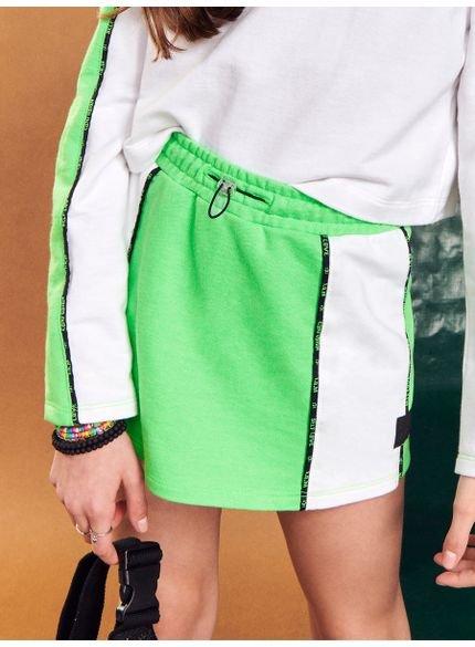 shorts saia teen verde neon de moletom i am