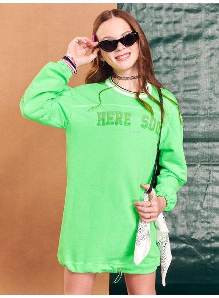vestido teen de moletom verde neon i am