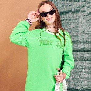 Vestido Teen de Moletom Verde Neon I Am R2555