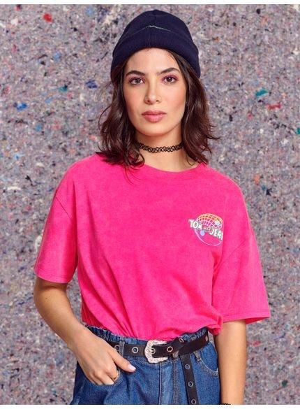 camiseta juvenil pink tom e jerry authoria