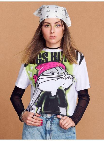 camiseta juvenil feminina pernalonga branca