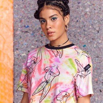Camiseta Juvenil Pernalonga Tie Dye manga T7495