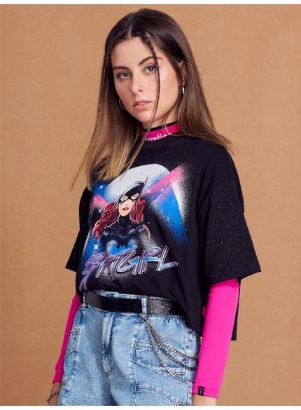 camiseta juvenil preta batgirl authoria