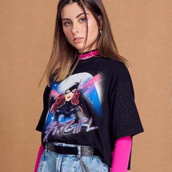 Camiseta Juvenil Preta Batgirl Authoria T7549