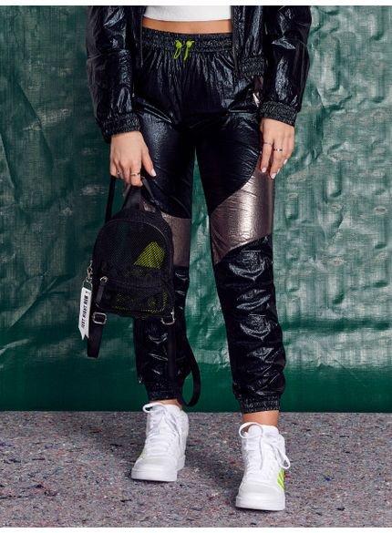 calca juvenil jogger corta vento metalizada authoria