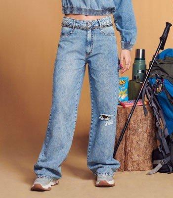Calca Juvenil Jeans Wide Leg Authoria T7580