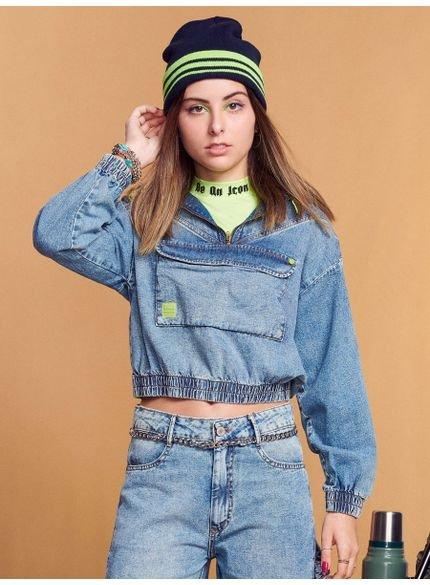jaqueta jeans juvenil barra com elastico