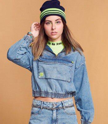 Jaqueta Jeans Juvenil Barra com Elastico T7428
