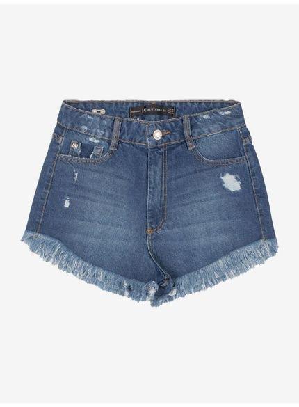 shorts jeans juvenil com barra desfiada authoria